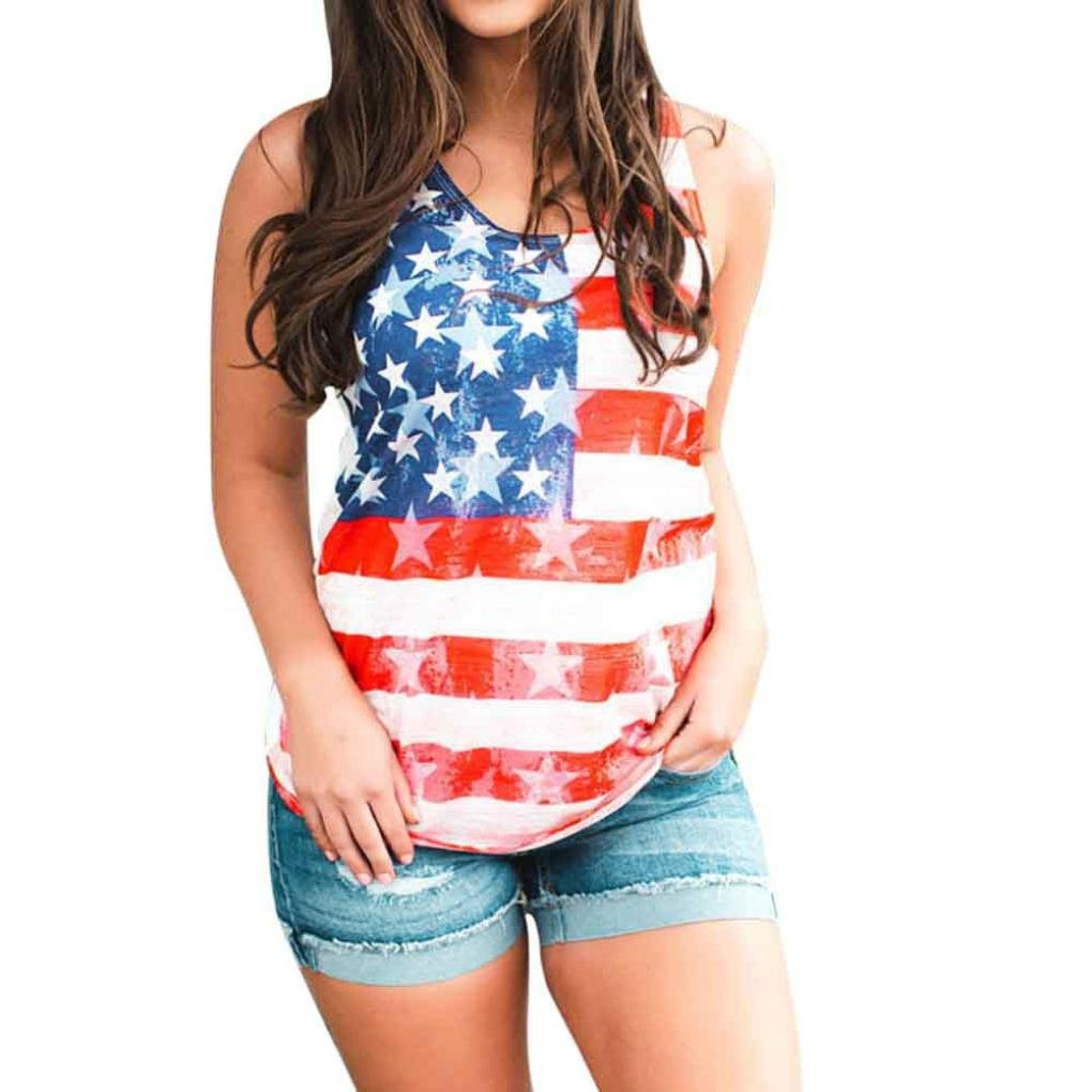 Paymenow Casual Tops for Women Sleeveless, Women American Flag Print Vest Tank Tops Casual Fashion Shirt Blouse (XXL, Red)