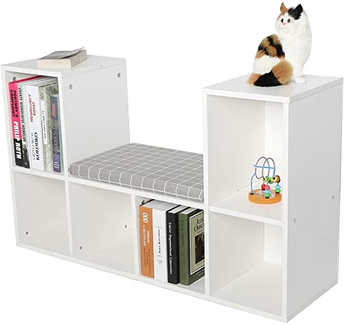 Yosoo Multi-Functional Wooden Storage Shelf Bookshelf Bookcase with Reading Nook Home Office Use Practical New White