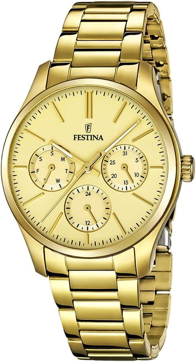 Festina-F16814/2 - Reloj analógico de Cuarzo para Mujer, Correa de Acero Inoxidable, Color Dorado y Rosa