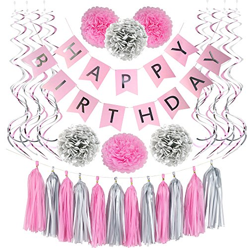 31 PIECE HAPPY BIRTHDAY BANNER PARTY DECORATIONS SET IN PINK AND SILVER - And Silver Pink