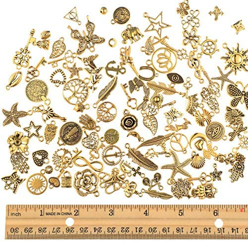 220 Pieces Tibetan Antique Gold Charm Set, Include Mixed Jewelry Pendants Gold Charm Pendant Assorted with Expandable Bangle Adjustable Wire Bracelets and Open Jump Ring for DIY Jewelry Making