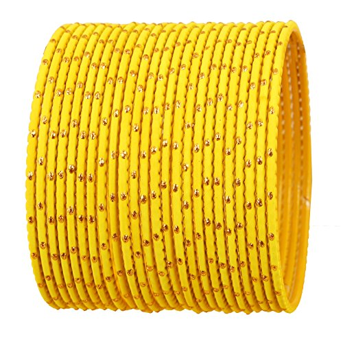 Touchstone New Colorful Bangle Collection Indian Bollywood Exclusive Golden Glaze Yellow Color Designer Jewelry Special Large Size Bangle Bracelets. Set of 24 for ()