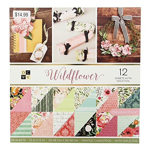 - DCWV PS-005-00638 Wildflower Paper Stack, 12-x-12