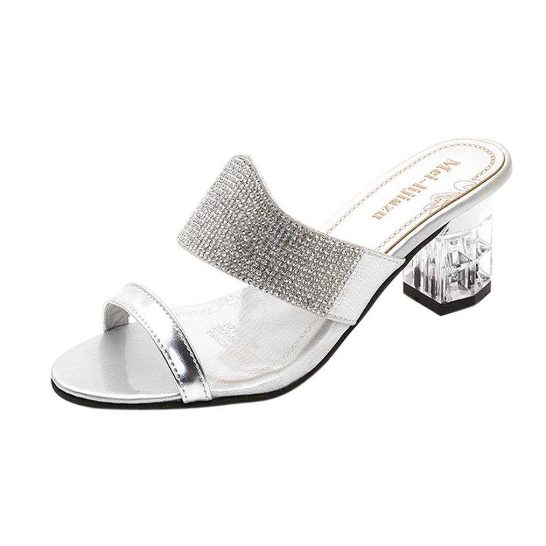 DENER Women Girls Ladies High Heels Slippers,Rhinestone Transparent Chunky Wide Width House Sandals (Silver, 36)