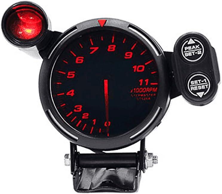 Honeytecs 3.5 Tachometer Gauge Kit RED LED 11000 RPM Meter with Adjustable Shift Light+Stepping Motor Black