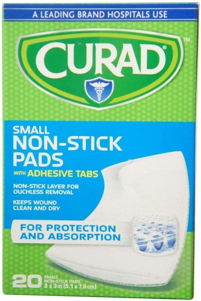 Curad Small Non-Stick Pads With Adhesive Tabs 2 Inches X 3 Inches 20 Each (Pack of 3): Health & Personal Care