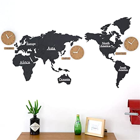 Pine wooden wall clock 3d world map stitching modern living room pine wooden wall clock 3d world map stitching modern living room background wall decoration clock gumiabroncs Images