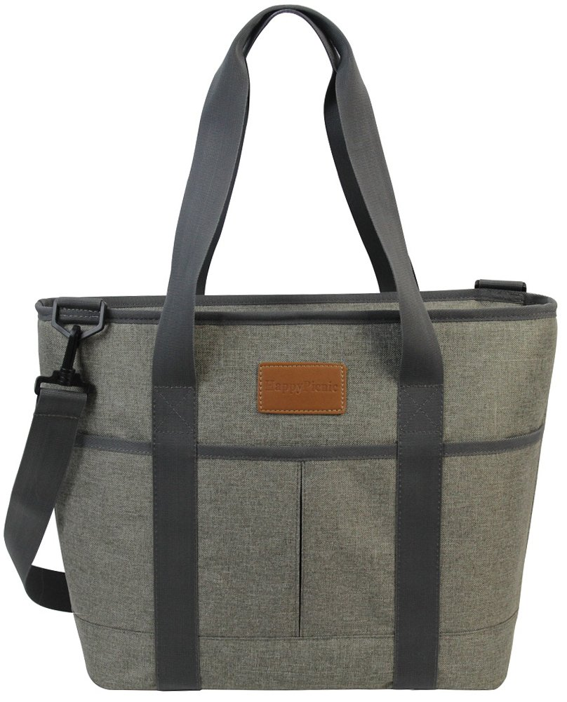HappyPicnic 16L Large Insulated Bag   25CAN Waterproof Cooler Carrier Bag  Thermal Picnic Tote   Lunch Bags for Outdoor Camping,Beach Day or Travel   Collapsible Grocery Shopping Storage Bag-Khaki