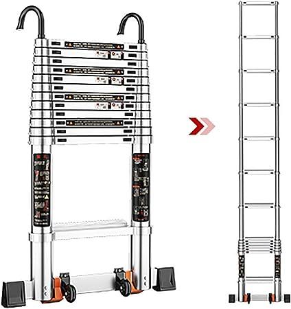WGOOGA Escaleras telescópicas Escalera de Aluminio de 3,2 a 5,3 m con Gancho y Rueda Escalera de extensión multipropósito Escaleras de Paso industriales Tipo Loft Carga 150 kg (Size : 4.6m/15.1ft): Amazon.es: Hogar