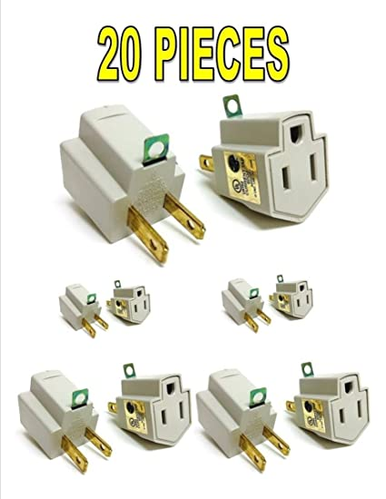 Amazon.com: 20 Pieces 3 Prong Plug to 2 Prong Outlet Electrical ...