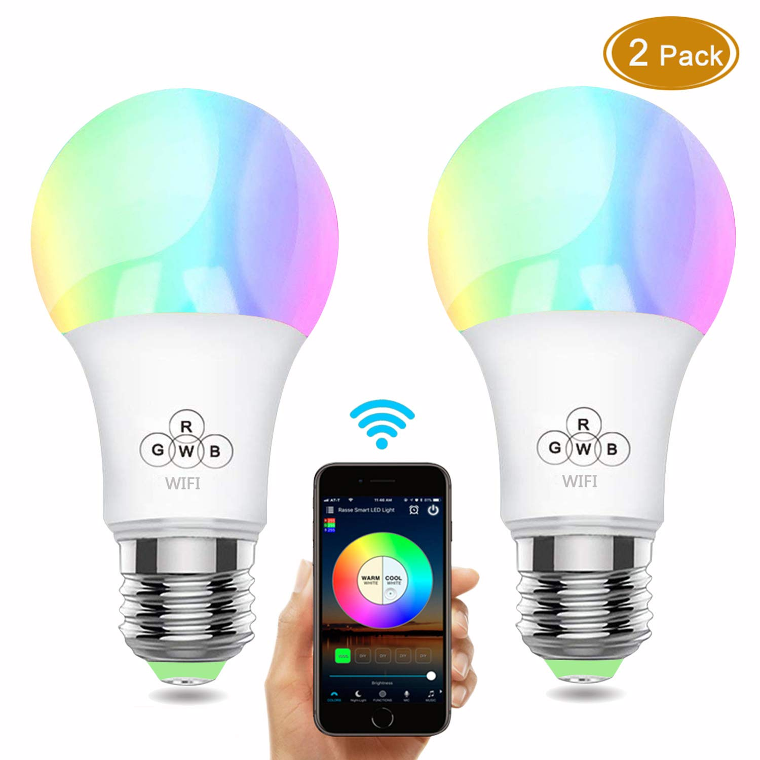 Rasse Smart LED Light Bulb, WiFi Light Bulbs 40W Equivalent, Dimmable RGB Multicolor LED Smart Light Bulb, Wake-up Lights Smart Led Light Bulbs Works with Amazon Echo Alexa/Goole Home Assist (2 Pack)