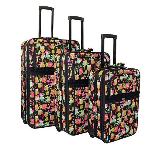 World Traveler Owl 3-Piece Expandable Upright Luggage Set...