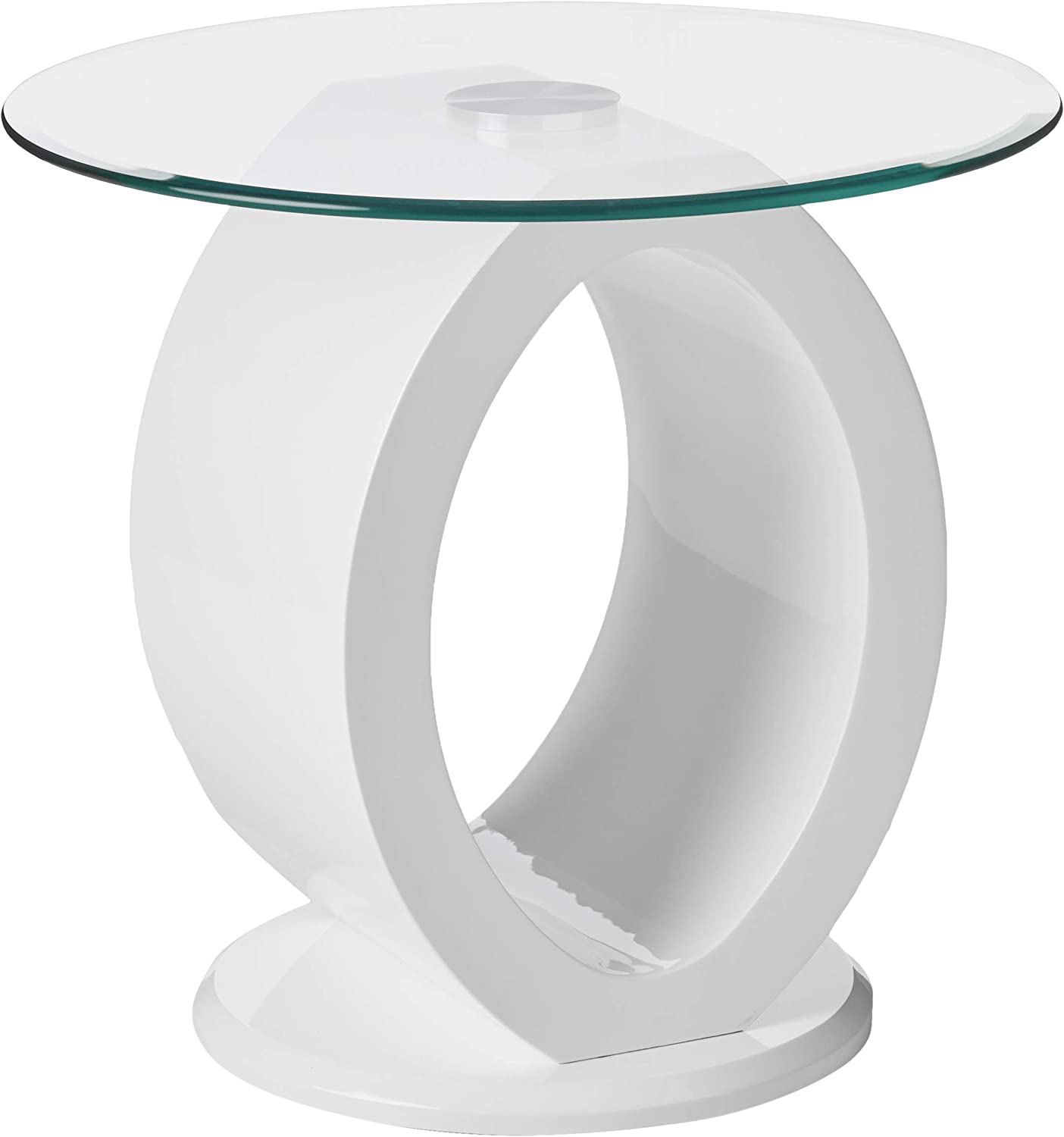 Furniture of America Modine Contemporary Glass Top End Table, White