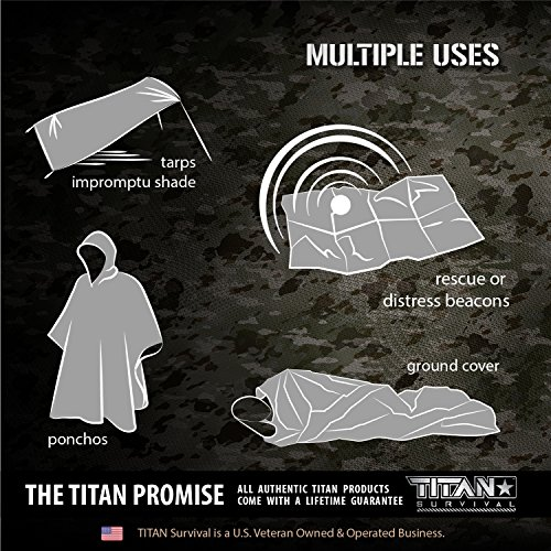 Titan Two-Sided Mylar Emergency Survival Space Blankets, 5-Pack | Safety-Orange (27-000002) by Titan Paracord (Image #4)