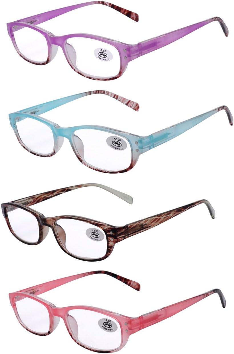 AMILLET Gafas de lectura 4 paquetes para las mujeres, elegante del marco Ombre primavera bisagras, 4 colores con el embalaje de regalo, gafas para leer 0 2.5