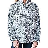 #10: Womens 1/4 Zip Fleece Sherpa Pebble Pile Fleece Fuzzy Unisex Sweatshirt Winter Coat