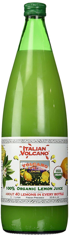 Volcano Bursts Organic Italian 100% Organic Lemon Juice In Glass Bottle, 33.8 oz   Pack of 1