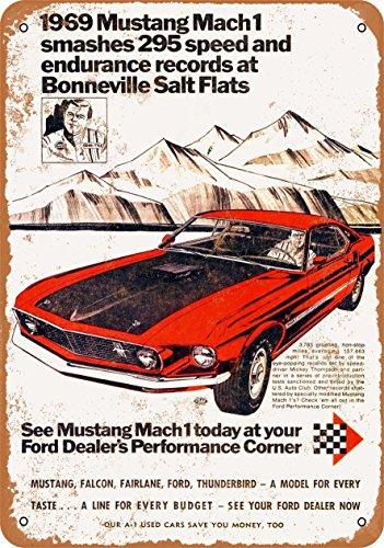 Wall-Color 7 x 10 Metal Sign - 1969 Ford Mustang Mach 1 at Bonneville Salt Flats - Vintage -