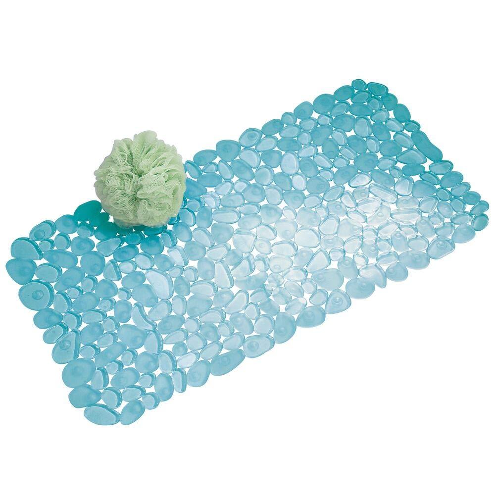 mDesign Morbido tappeto bagno in PVC - Tappetino doccia con ventose - Poggiapiedi e scendidoccia impermeabile per bagno, cabina doccia e vasca - Blu con motivo a ciottoli