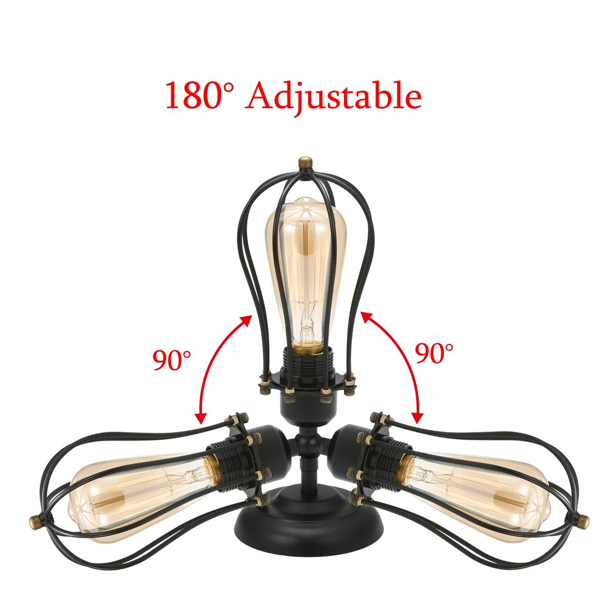 Louvra Industrial Wall Light Socket Rustic Wire Metal Cage Vintage Wall Lights Black Iron Vintage Adjustable Wall Lamp for Kitchen Warehouse Bar Club Single Lamp-Base, Black Painted