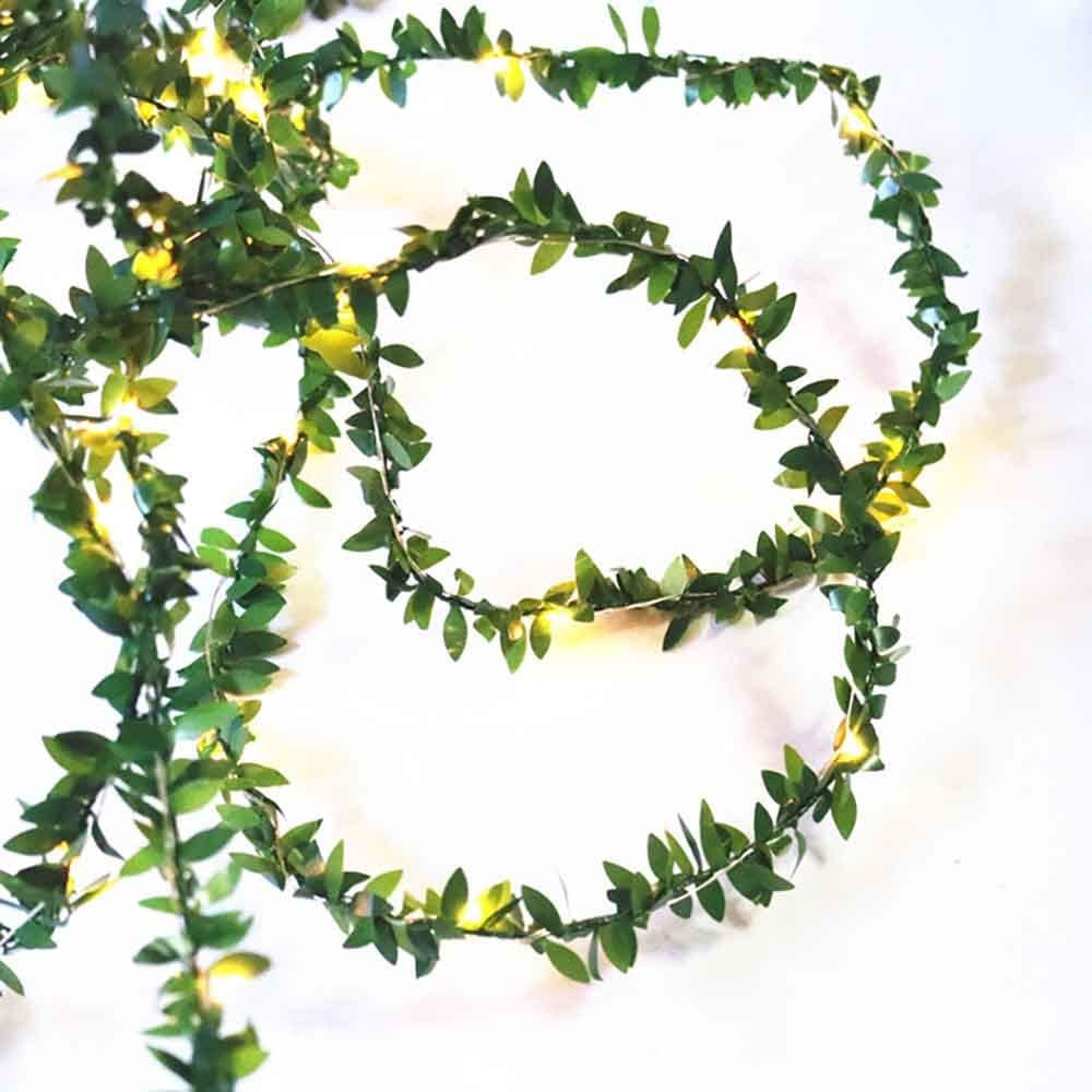 Kitstar 50LEDs Warm White Tiny Leaf Green Garland Timer Function Fairy String Light for Christmas Holiday New Year Garden Décor 16.6ft, Battery Operated