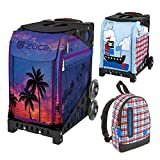 Zuca Island Life Insert Bag in Black Frame (Full-Sized Sport) with Mini Pirate Bag for Kids and Explorer Backpack