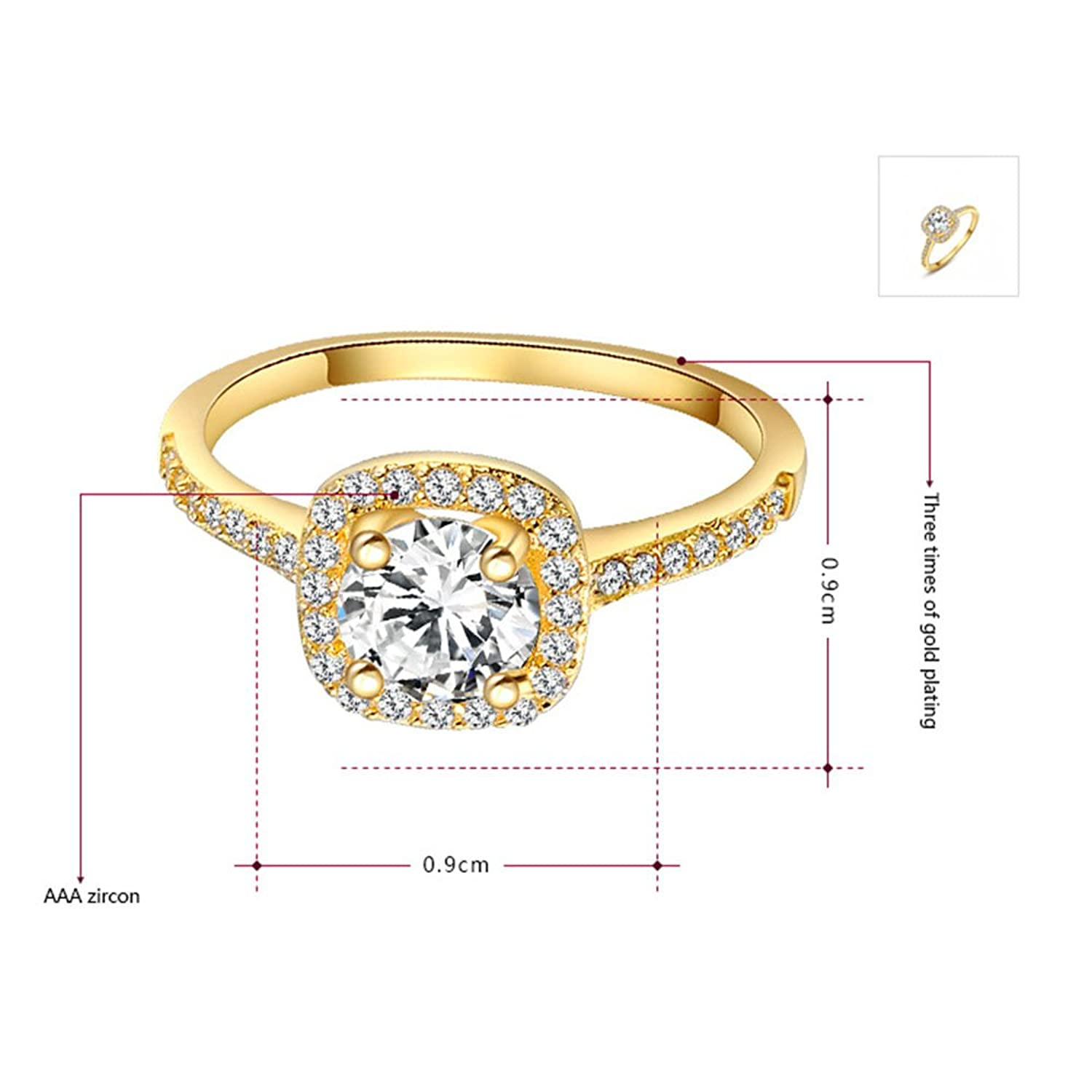 Z Womens Jewelry Circular Bead Square Ring Diamond Rose Gold Ring Wedding  Size 8: Jewelry