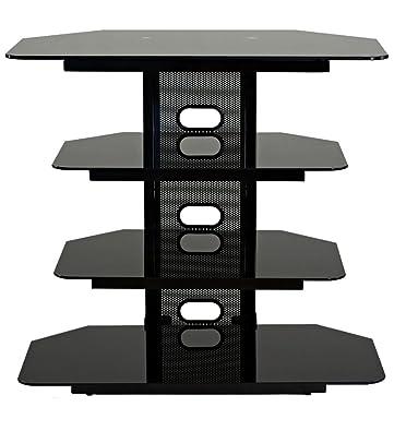 TransDeco Corner TV Stand with 3 AV Shelves for Up to 35-Inch Plasma/LCD TV