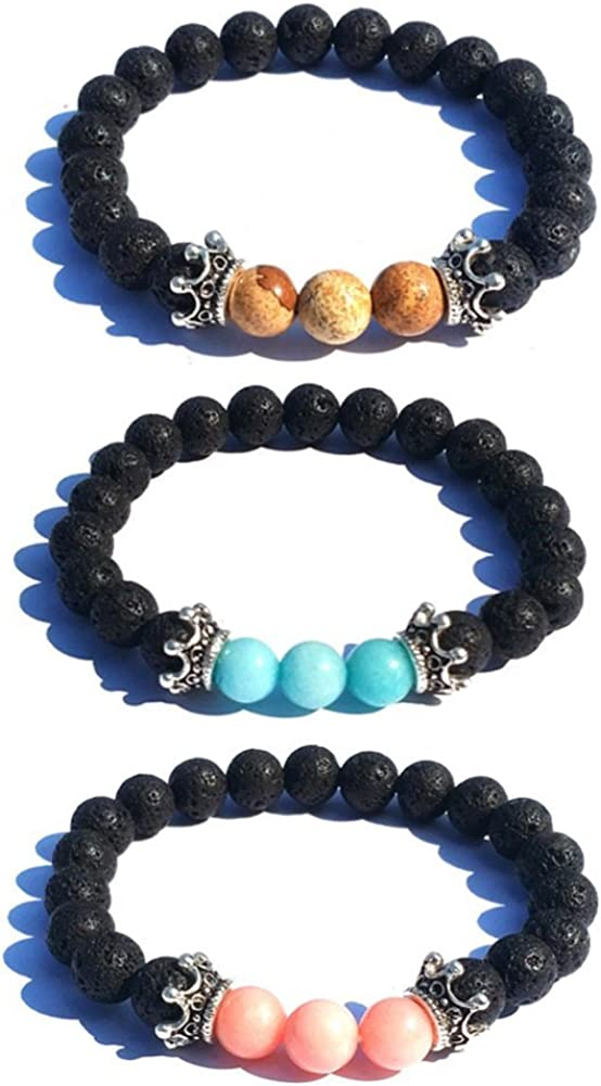 SIVITE 7 Chakra Weathered Agate Lava Rock Beads Bracelet Essential Oil Diffuser Aromatherapy Bracelet