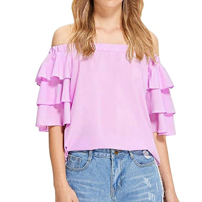 Camiseta de Verano para Mujer Moda Mujer Manga Corta Fuera del Hombro Ruffle Camiseta Ocasional Blusa Tops Blusa Casual Señoras Camisetas: Amazon.es: Ropa y ...