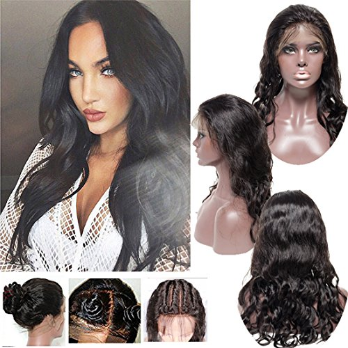 360 Lace Frontal Wigs Human Hair Pre-Plucked Hairline Bleached Konts Glueless 130% Density Free Part Body Wave Straight 360 Full Lace Wigs With Baby Hair for Black Women (14