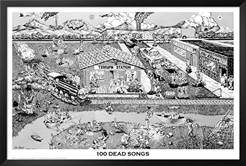 Professionally Framed Grateful Dead 100 Songs Music Poster P