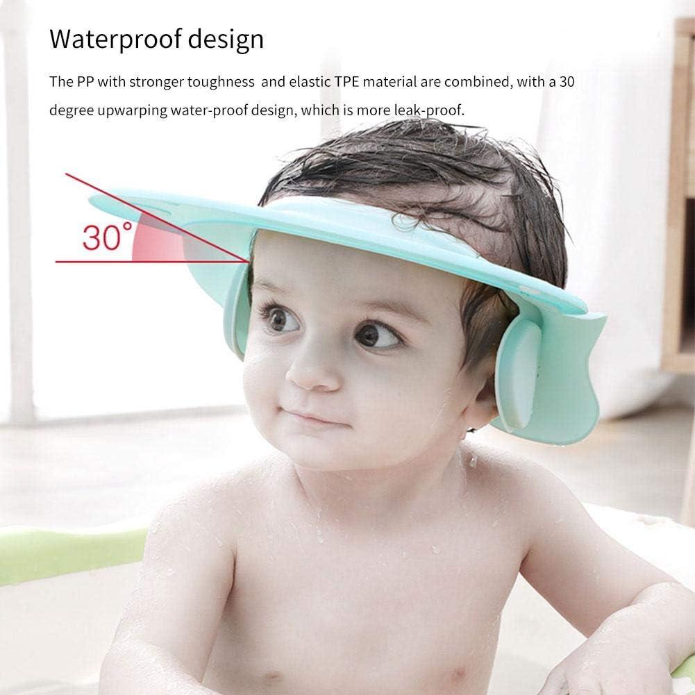 Weiche Baby Dusch Badekappe Verstellbarer Kinder Baden Shampoo Kappe Haarewaschen Kopfschutz Bad Duschhaube Klettverschluss Haarwaschhilfe mit Augenschutz und Ohrenschutz