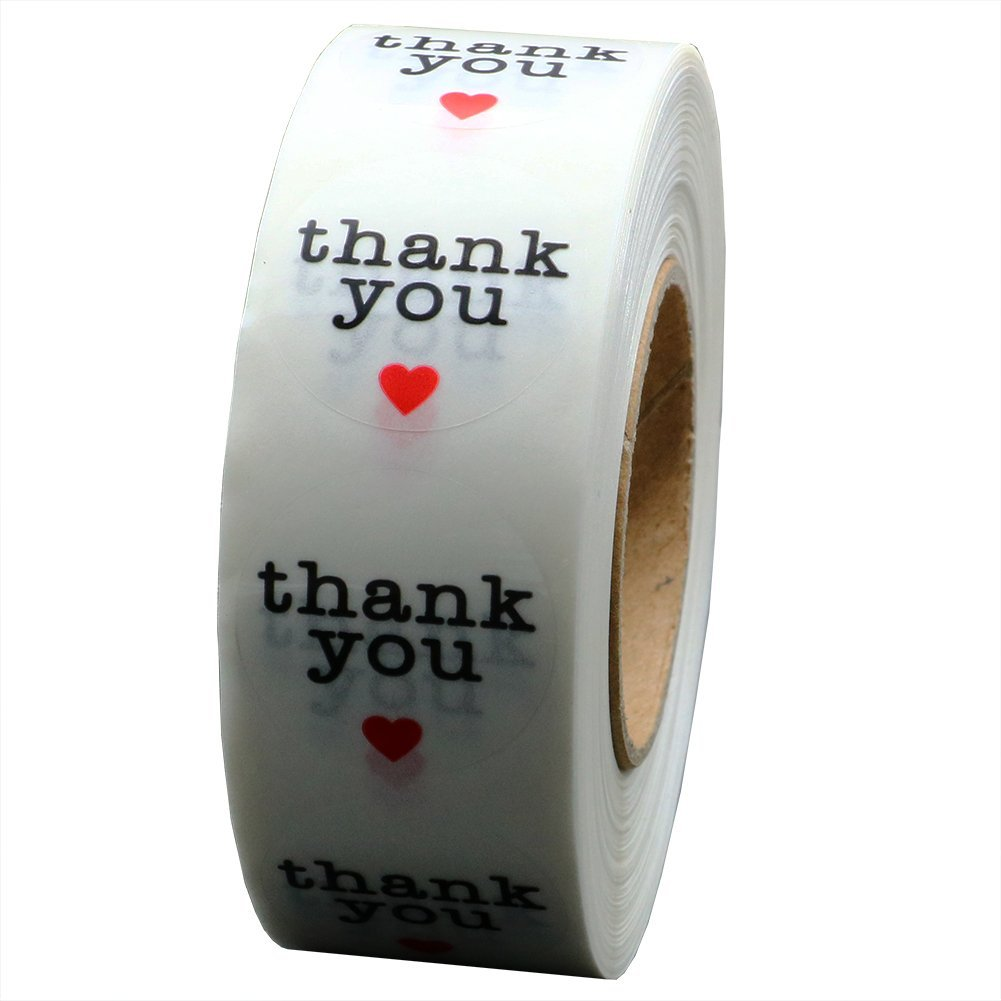 Hybsk Clear Circle Wafer Thank You Stickers with Red Heart 1 Inch Round 1 000 Adhesive Labels Per Roll