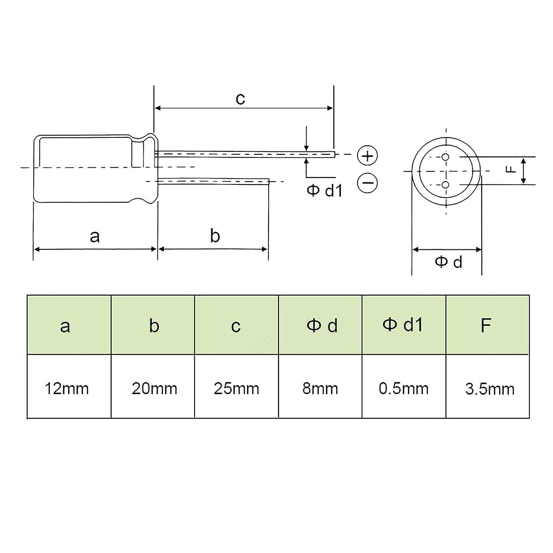 DULALA Condensatore Condensatore elettrolitico Radiale in Alluminio 10 Pezzi con 220uF 25V 105 Celsius Vita 2000H 8 x 12 mm