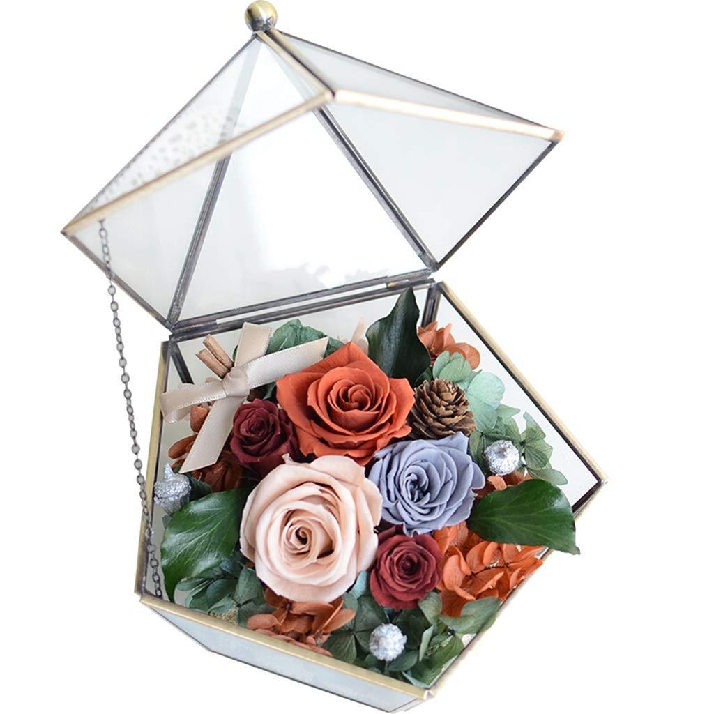 NKDK 永遠の花ローズグラスフラワールームロマンチックな誕生日クリスマスギフト記念日ホームギフト赤 - ペンタゴンガラスフラワールーム永遠の花 - 造花 3635 (Color : E) B07SX3MMST E