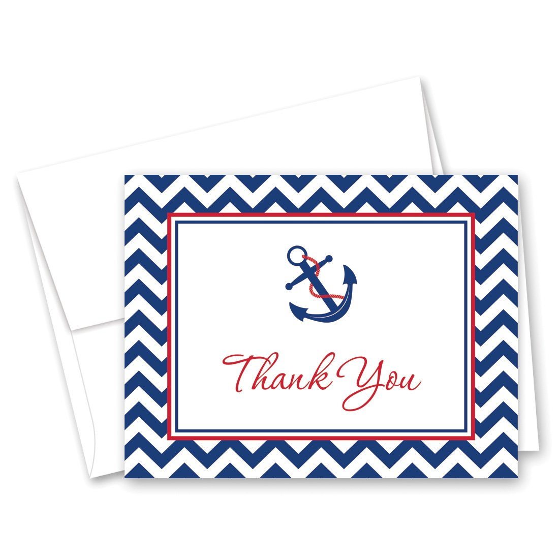 50 Nautical Thank You Cards (Red & Navy)