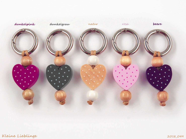 Schlüsselanhänger - mit Namen möglich - Kinder - Erwachsene - Taschenbaumler - Herz - Schlüsselring - verschiedene Farben