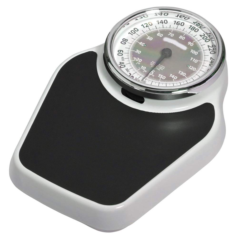 AMGS Analog Bathroom Scale 400lb Capacity Extra Large Mechanical Dial Heavy Duty Professional Accurate Body Weight Scales Home Office Dorm Durable White Black & e-Book by Amglobalsupplies by AMGS