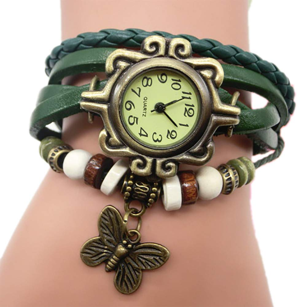Pocciol Brown Retro Weave Wrap Lady Bead Butterfly Dangle Bracelet Bangle Quartz Wrist Watch (Green) by Pocciol Cheap-Nice Watch (Image #1)