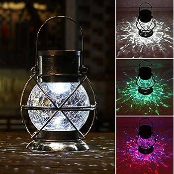 TAKEME Solar Lantern, Metal & Glass Outdoor Garden Lights,Vintage Decorative Lamp Color Changing Twinkling Crackle Lights
