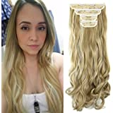 "18"" Curly Wavy 4 Pieces Set Thick Clip in on Synthetic Single Weft Hair Extensions Hairpieces for Women Ash Blonde Mix…"