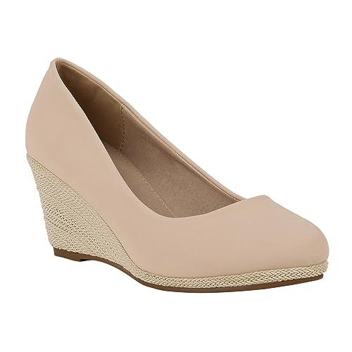 59913493b03fec Stiefelparadies Damen Keilpumps Glitzer Flandell  Amazon.de  Schuhe    Handtaschen