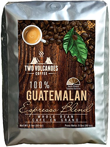 Two Volcanoes Whole Bean Coffee - 5 Lbs - Guatemalan Dark Roast Espresso Blend From Rare Organic Gourmet Coffee Beans. Get The Kick, Enjoy the Smoothness!