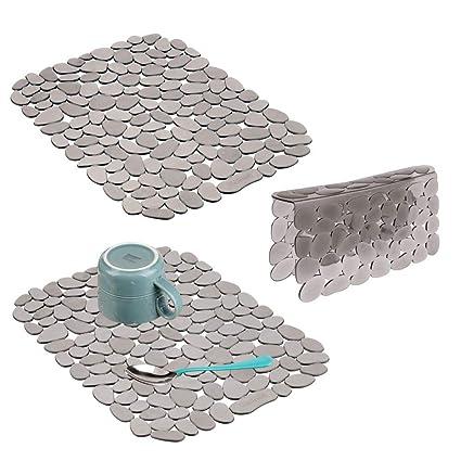Adjustable PVC Sink Insert for Dishes and Sink Black Large Kitchen Mat mDesign Set of 2 Adjustable Sink Mat Pebble Design