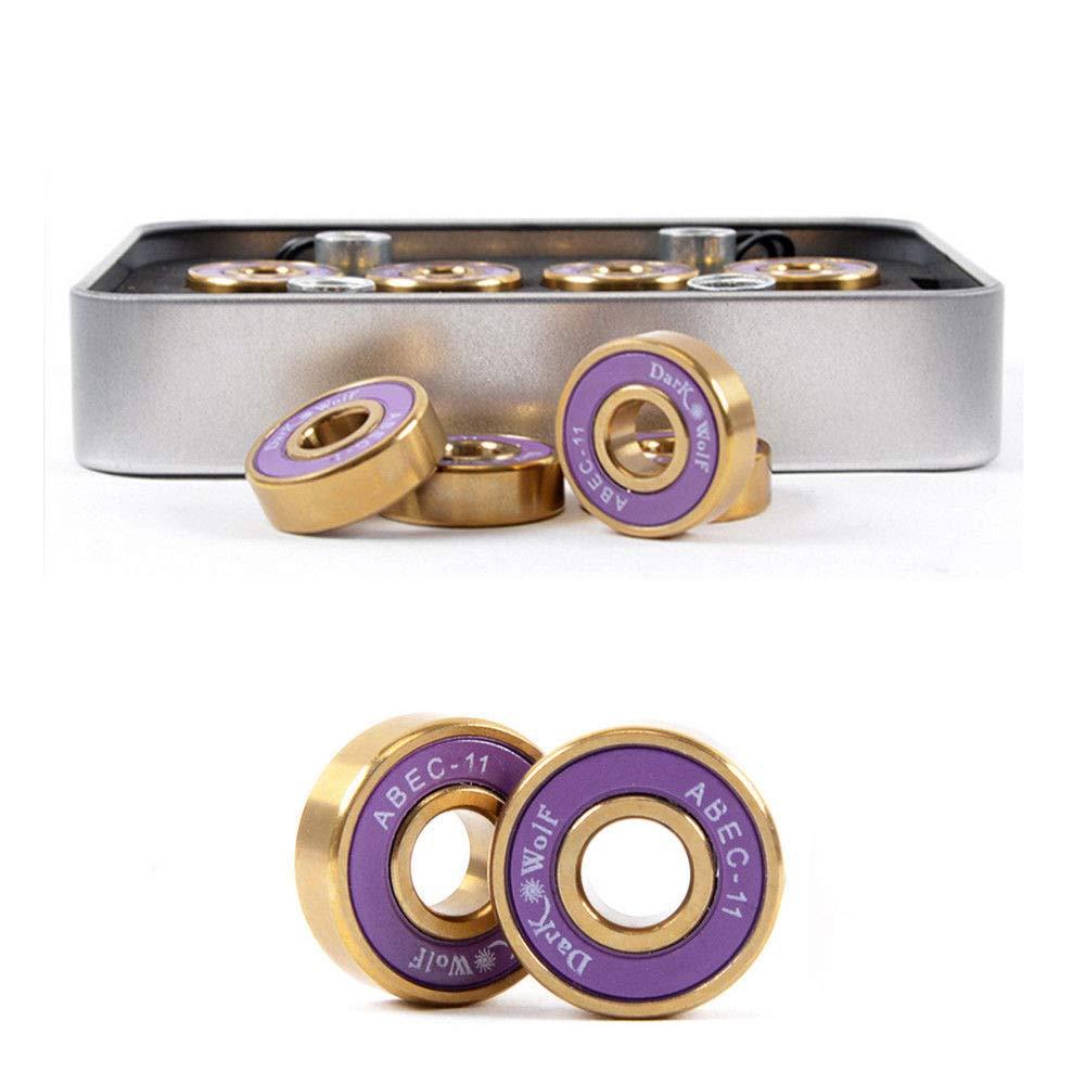 FidgetGear Dark Wolf Skateboard Bearings Titanium ABEC-11 Purple Gold 8PC with 4PC Spacer