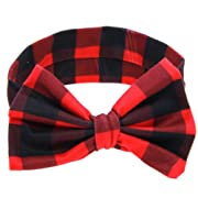 ZOONAI Baby Girls Toddler Bowknot Headband Infant Rabbit Ear Hair Band Headdress (Red Plaid)