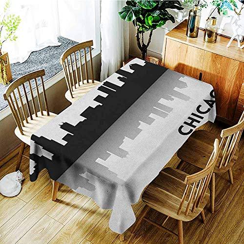 AndyTours Custom Tablecloth,Chicago Skyline,Modern Minimalist,W50x80L Black and White ()