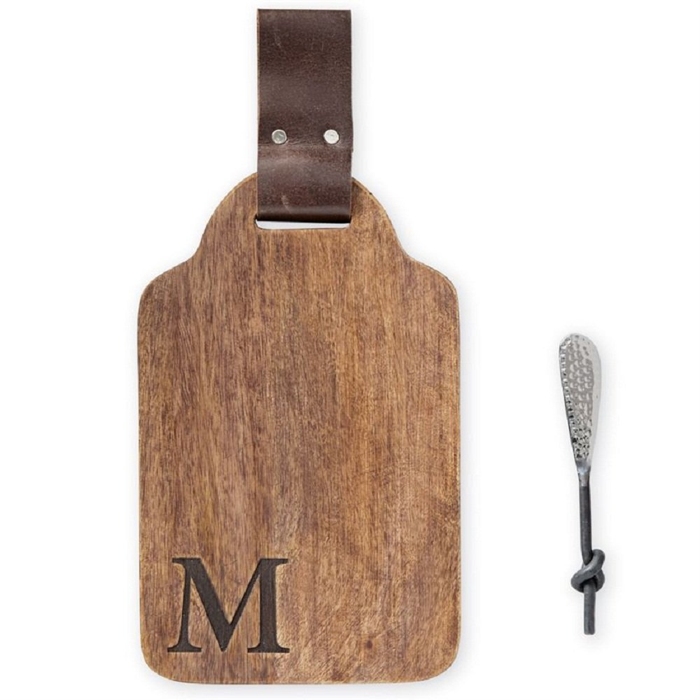 Mud Pie M Initial Wood and Leather Bar Board Set Brown 6 x 13