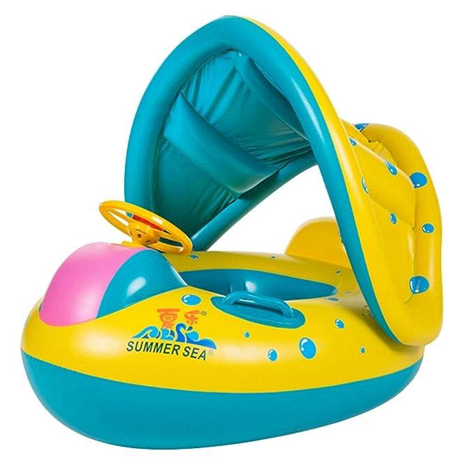 Flotador Inflable del Agua de la natación del bebé, yate del Barco del Asiento del bebé con el toldo Ajustable de la sombrilla Safty para los niños ...